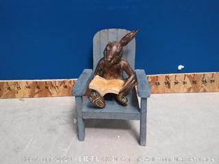 reading rabbit outdoor garden statue (ear broken) online $44
