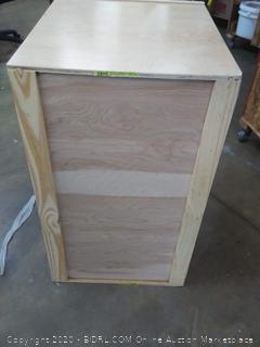 large wooden open cabinet (no shelves)