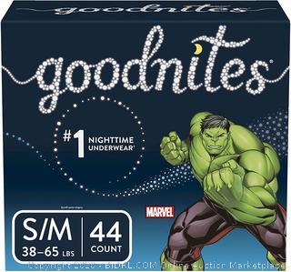 Goodnites Bedwetting Underwear for Boys, Small/Medium (38-65 lb.), 44 Ct, package may vary (online $25)