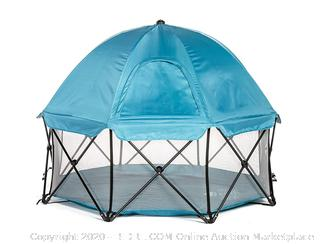 Regalo My Play Deluxe Extra Large Portable Play Yard Indoor and Outdoor, Bonus Kit, Includes Carry Case and Full Canopy, Washable, Teal, 8-Panel (online $119)