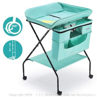 Baby Changing Table with Wheels, Adjustable Height Folding Diaper Station Portable Mobile Nursery Organizer with Newborn Clothes & Storage Rack for Infant (online $83)