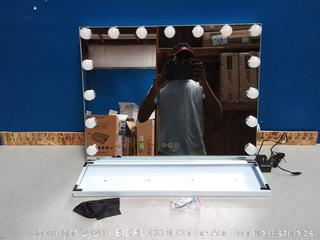 "FENCHILIN Large Vanity Mirror 22.8""x 18.1"" Hollywood Lighted 15 bulbs(powers on) online $143"