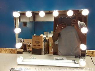 "FENCHILIN Large Vanity Mirror with Lights, 19.68""x 15.74"" Hollywood Lighted 12 bulb(powers on) online $104"