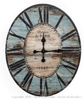 "Creative Co-op Distressed Wood Wall Clock, 29"" Oval, Turquoise (online $93)"