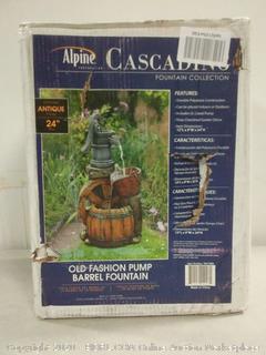Alpine cascading fountain old fashion pump Barrel fountain 24 in tall (online $78)