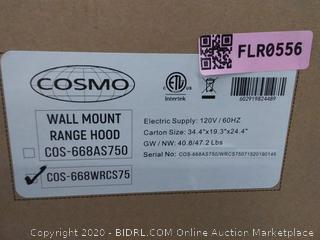 Cosmo 668WRCS75 30 in. Wall Mount Range Hood with 760 CFM, Ducted Exhaust Vent, 3 Speed Fan, Soft Touch Controls, Tempered Glass, Permanent Filters in Stainless Steel, 30 inches(Retails $262)