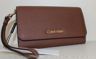 Calvin Klein Saffiano Leather Wristlet Wallet (MSRP-$118)