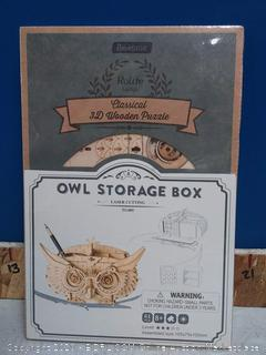 Rolife 3D Wooden Puzzle Creative Owl Box Wood Pen Pencil Container Holder Wooden Craft Kits Brain Teaser 3D Wood Puzzle