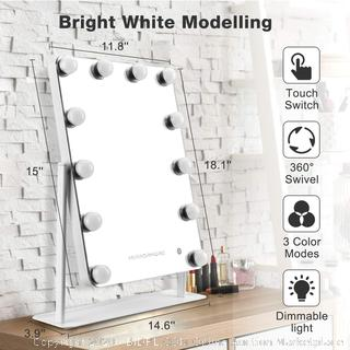 MIRRORMORE Lighted Hollywood Mirror - Lighted Makeup Mirror with 12 Dimmable LED Bulbs, Touch Control, 3 Lighting Modes, Hollywood Style Vanity Mirror with Lightes, Large Cosmetic Mirror for Desk (Powers On)(Retails $119)