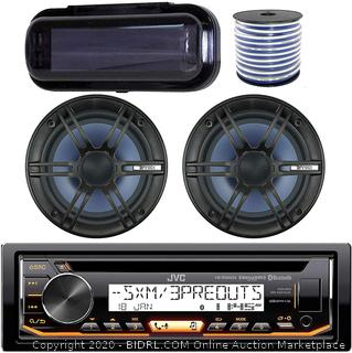 "JVC In-Dash Marine Boat Bluetooth Radio USB Receiver Bundle Combo with Pair of Enrock 6.5"" Black Dual-Cone Stereo Speakers, Stereo Waterproof Cover, 18g 50ft Marine Speaker Wire(Retails $144)"