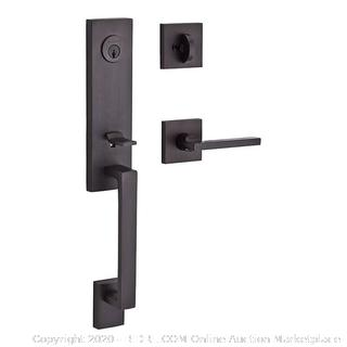 Baldwin Seattle Right Handed Standard C Keyway Single Cylinder Keyed Entry Handleset with Contemporary Square Rose and Square Lever on Interior(Retails $155)