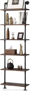BOSURU Industrial Pipe Shelves Rustic Wood Ladder Bookshelf Wall Mounted Shelf for Living Room Decor and Storage(Retails $145)