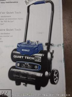 Kobalt Quiet Tech 4.3-Gallon Single Stage Portable Electric Twin Stack Air Compressor(Powers on)(Retails $240)(Cubby2)