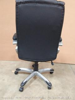 High-Back Bonded Leather Executive Office Computer Desk Chair - Black, BIFMA Certified (chair J)