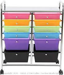 finnhomy storage cart with 12 drawers multicolor Chrome