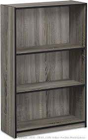 FURINNO JAYA Simple Home 3-Tier Adjustable Shelf Bookcase, French Oak Grey