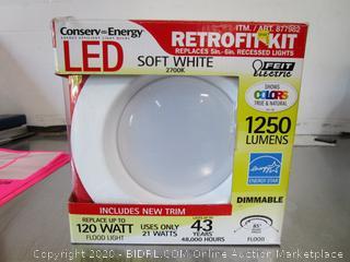 "Feit Conserv-Energy 1250 Lumens Dimmable 6"" Recessed Light Retrofit Kit"