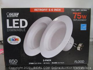 "Feit 850 Lumens Dimmable 5""-6"" Recessed Lights Retrofit Kit 2pk"