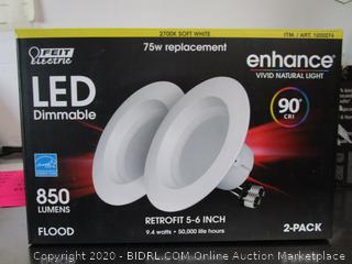 "Feit 850 Lumens Dimmable 5""-6"" Recessed Lights Retrofit Kit 2pk"