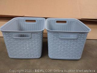 Sterilite 12736A06 Basket Tall Wicker Weave Cement 2 Count