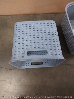 Sterilite 12736A06 Basket Tall Wicker Weave Cement 2 Count