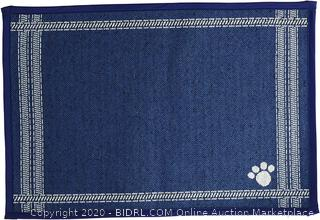 Petrageous designs non-skid pet mat Blue 19 in by 13 in