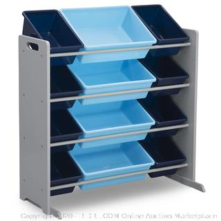 Delta Children Kids Toy Storage Organizer with 12 Plastic Bins, Grey/Blue, Grey/Blue(Retails $63)