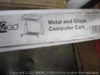Metal and Glass Computer Cart