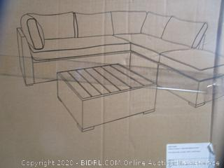 Patio Loveseat Sectional and Ottoman/Table Set