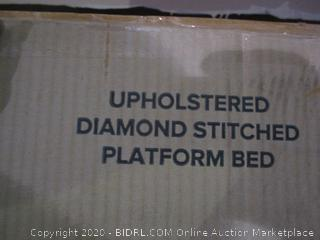 Zins Upholstered Diamond Stitched Platform Bed  Queen