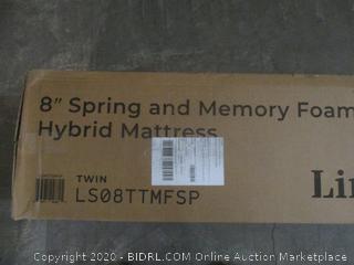 "Linenspa 8"" Spring and Memory Foam Hybrid Mattress  Twin  box damage varies  new"