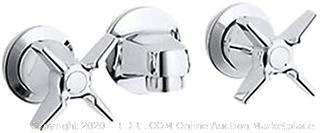 Kohler K-8046-3N-CP Triton 0.5 gpm Shelf-Back Commercial Bathroom Sink Faucet with Grid Drain and Cross Handles Polished Chrome (online $252)