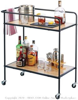 Roll over image to zoom in        2 VIDEOS mDesign Portable Rolling Bar Cart Organizer Trolley with Easy-Glide Wheels and 2 Multipurpose Heavy-Duty Shelves (online $80) items on cart not included