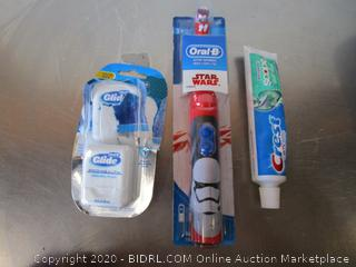 Crest Toothpaste, Glide, Toothbrush