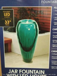 Alpine cascading fountain collection jar fountain with LED lights (powers on)(Retails $183)