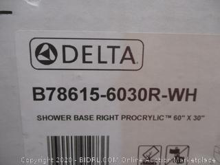 "Delta Shower Base right Procrylic 60"" X 30"""