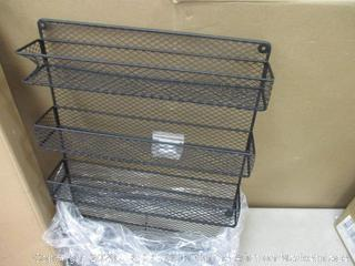 5 Tier Black Country Rustic Wall Mounted Spice Rack