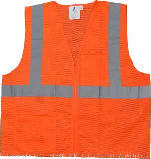 Azusa Safety SVOZ2 XXL 01 High Visibility (Hi-Vis) Breathable Mesh Zipper Safety Vest, XX-Large, Neon Orange six pack