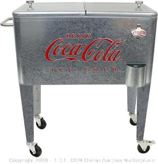 Retro Vintage Classic 60 Qt Embossed Galvanized Coca-Cola Cooler(small dents/COME PREVIEW!!!!!) online $172