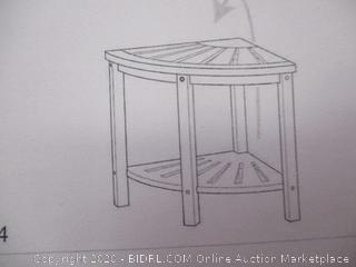 New Ridge Home Goods - Natural Bamboo Corner Shower Bench Seat With Storage Shelf