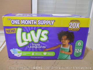 Luvs - Triple Leakguards, Size 6 (124 Count, Sealed Bags)
