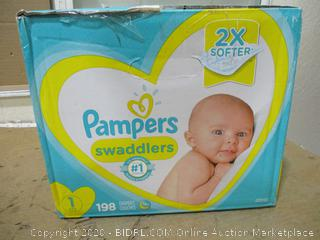 Pampers - Swaddlers, Size 1 (198 Count, Sealed Bags)
