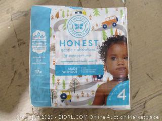 Honest - Gentle & Absorbent Diapers, Size 4 (23 Count, Sealed Bags)
