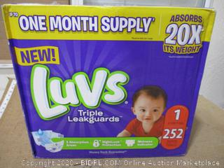 Luvs - Triple Leakguards, Size 1 (252 Count, Sealed Bags)