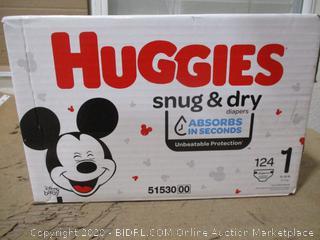 Huggies - Snug & Dry, Size 1 (124 Count, Sealed Box)