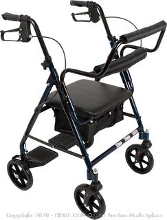 Blue Rollator Walker Transforms Into Transport Chair, 2 in 1