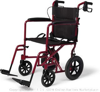 Medline basic aluminum transport chair 19 inch 12 inch rear wheel red frame (Online $130
