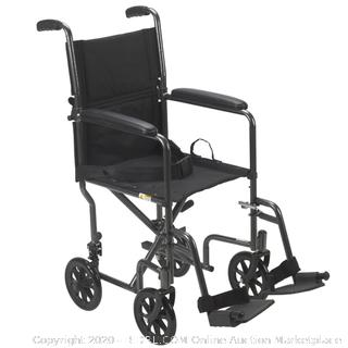 Drive steel transport chair 19 in silver vein frame