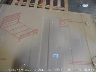 Queen Size Metal and Wood Plank Bed (See Pictures)