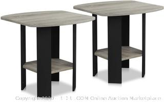 Furinno End Table 2-Pack French Oak Grey/Black